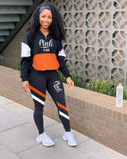 Pink Letter Print Tracksuit Patchwork Two Piece Sets CQ-075