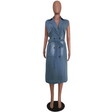 Casual Sleeveless Sashes Denim Midi Dress MEM-8234