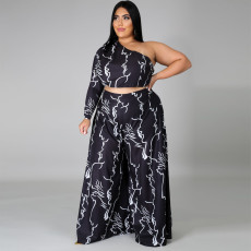 Plus Size 4XL Sexy Printed One Shoulder Wide Leg 2 Piece Sets YD-8299