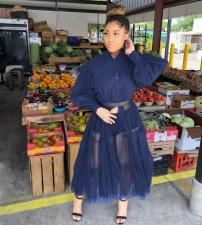 Plus Size 4XL Long Sleeve Fashion Mesh Patchwork Long Shirt (Without Belt) QYF-0315