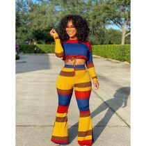 Casual Striped Long Sleeve Flared Pants 2 Piece Sets CHY-1259