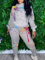 Casual Printed Hoodies Two Piece Pants Set LQ-5890