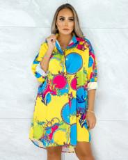 Plus Size Fashion Long Sleeve Printed Shirt Dress (Without Belt) QYF-5011