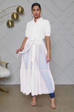 Fashion Mesh Patchwork Short Sleeve Long Blouse QYF-0317
