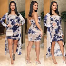 Tie Dye Ruched Dress+Long Cloak 2 Piece Sets ASL-6307