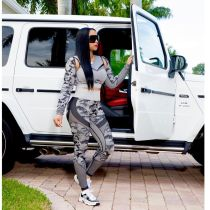 Long Sleeve Printed Casual Sports Two Piece Set NLF-8014