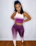 Gradient Tank Tops And Pants Two Piece Sets TCF-021