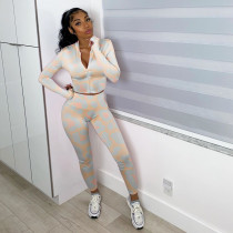 Long Sleeve Printed Casual Sports Two Piece Set NLF-8015