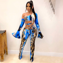 Sexy Leopard Print Long Sleeve 2 Piece Pants Set CHY-1270