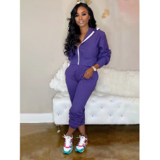 Casual Hooded Zipper Two Piece Pants Set YFS-3597