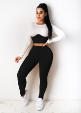 Casual Ribbed Long Sleeve Two Piece Pants Set ZSD-0320