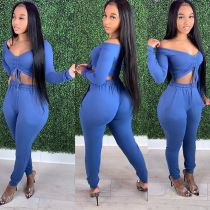 Sexy Solid Long Sleeve Pocket Pants 2 Piece Sets DMF-8155