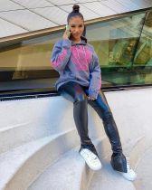 Casual Printed Hoodies+PU Leather Pants 2 Piece Sets SHA-6195