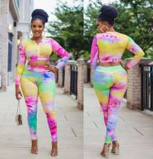 Casual Fashion Tie-dye Zipper Top And Trouser Set XMF-008