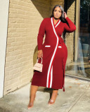 Casual Ribbed Full Sleeve Long Coat TR-1083