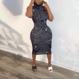 Letter Print Round Neck Pullover Sleeveless Midi Dress OXF-3773