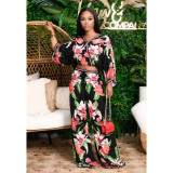 Sexy Print Long Sleeve Top And Wide Leg Pants Two Piece Set OXF-3776