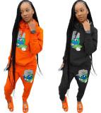 Fashion Casual Sports Cartoon Print Sweatshirt Two Piece Set OXF-8007