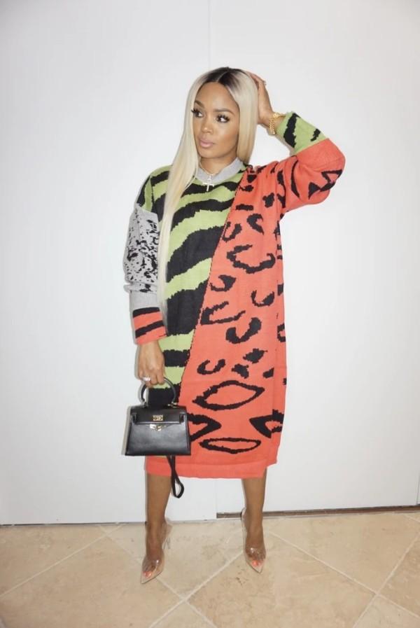 Plus Size Printed Full Sleeve Loose Long Dress YIY-5225