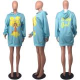 Fashion Casual Print Hooded Sweatshirts Dress OXF-3883
