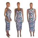 Sexy Sleeveless Feather Print Dress OXF-3550