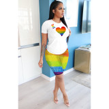 Casual Printed Short Sleeve T-shirt And Shorts Two Piece Set OXF-3280
