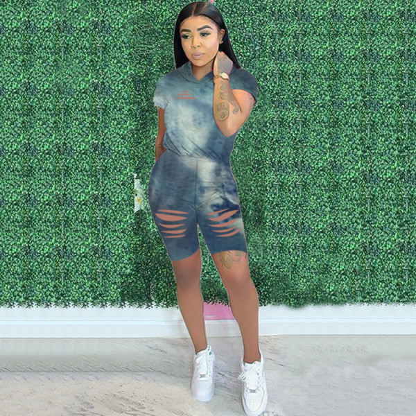 Casual Fashion Tie-dye Printed Short Sleeve Hooded Top And Shorts Set OXF-3680