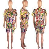 Fashion Casual Sports Printed T-shirt Shorts Two Piece Set OXF-3558