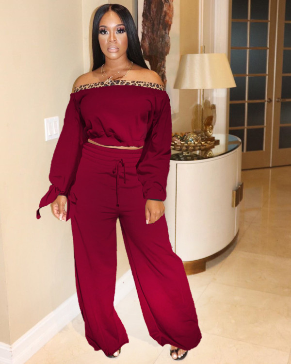 Fashion Long Sleeve Knotted And Wide Leg Pants Two Piece Set OXF-8002
