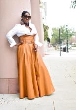 Plus Size PU Leather High Waist Big Swing Belted Maxi Skirt OD-8339
