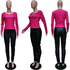 Casual Long Sleeve Top+PU Leather Stacked Pants 2 Piece Sets BGN-121