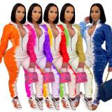Casual Print Zipper Long Sleeve Jumpsuits HM-6356