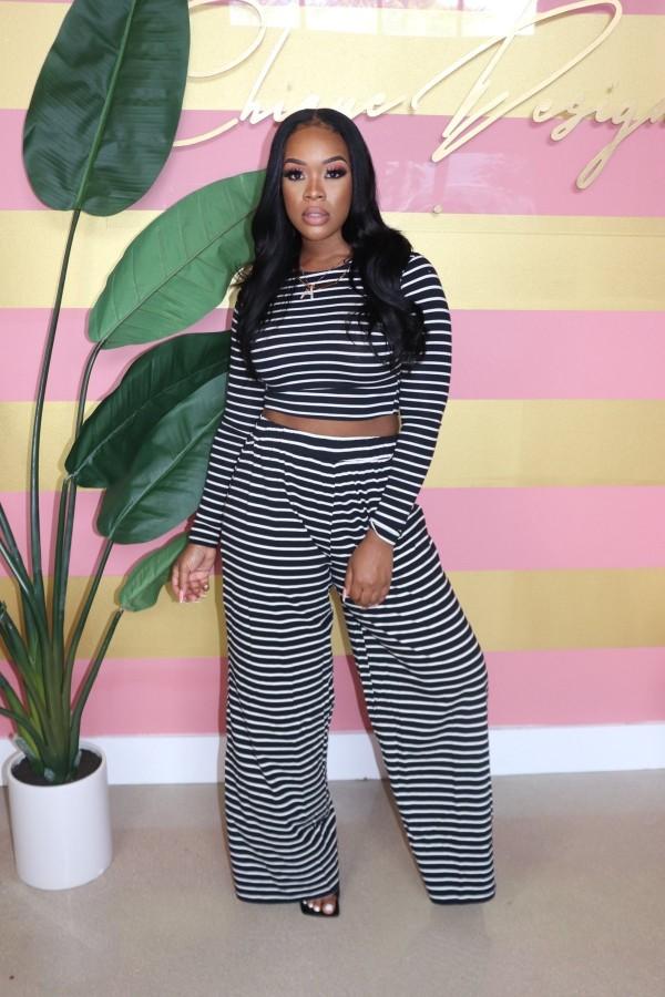 Casual Striped Wide Leg Pants Two Piece Suits BLX-7541