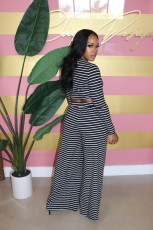 Casual Striped Wide Leg Pants Two Piece Suits BLX-7541