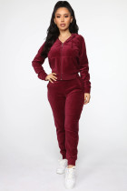 Casual Velvet Hooded Zipper Two Piece Suits WZ-8335