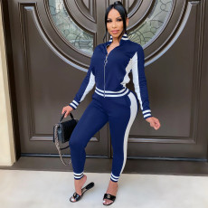 Casual Patchwork Tracksuit Two Piece Suits OSM-4319