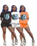 Casual Cartoon Bear Print T-shirt Shorts Two Piece Sets SXF-0535
