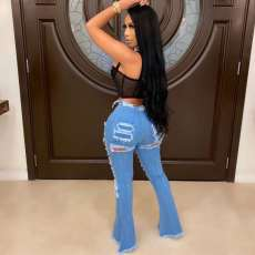 Casual Denim Ripped Hole Flared Jeans LA-3226