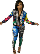 Casual Printed Zipper Jacket And Pants 2 Piece Sets SXF-2970