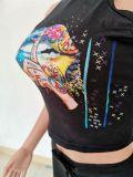 Lips Print Tank Top Hole Stacked Pants 2 Piece Sets SXF-2651