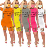 Plus Size Letter Print Ripped Hole Short Sleeve Shorts Two Piece Set SXF-2636