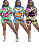 Cartoon Print T Shirt Shorts Two Piece Sets SXF-2650