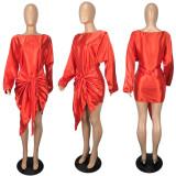 Sexy Silk Satin Long Sleeve Mini Dress YIY-5224