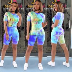 Tie dye Letter Print T-shirt Shorts Two Piece Set SXF-0524