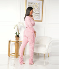 Solid Long Sleeve Stacked Pants Two Piece Sets CYA-8768