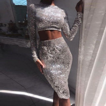 Plus Size 4XL Shiny Sequined Crop Top Midi Skirt 2 Pieces CYA-1281