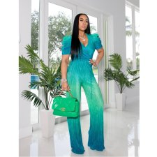 Gradient Puff Sleeve V Neck Sashes Jumpsuits CYA-8730