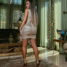 Sexy Sequin Feather Patchwork Club Dress CYA-8739