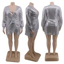 Plus Size Sequined V Neck Mini Club Dress CYA-1282