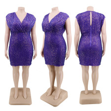Plus Size 5XL V Neck Sequined High Waist Club Dress CYA-1307